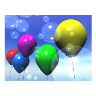 Postal de los globos y de las burbujas del fiesta