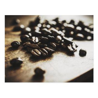 Postal de los granos de café del café express