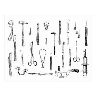 Postal de los instrumentos médicos del vintage