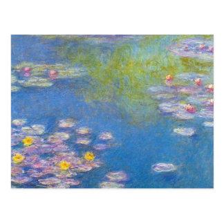 Postal de los lirios de agua amarilla de Monet
