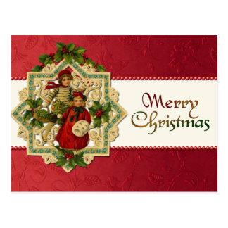 Postal de los niños del navidad del vintage