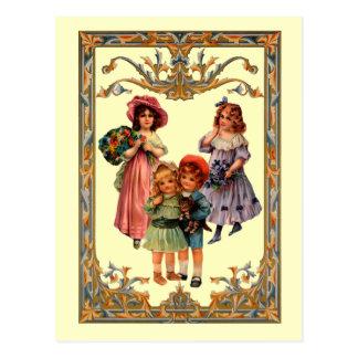 Postal de los niños del Victorian de la reproducci