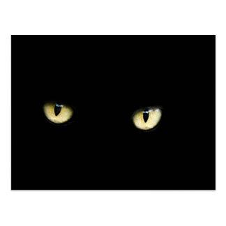 Postal de los ojos de gato negro de Halloween