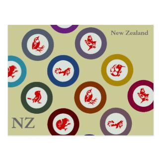 Postal de los pájaros de Nueva Zelanda
