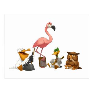 Postal de los pájaros de O de la banda de jarro