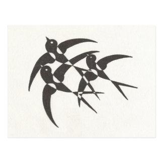 Postal de los pájaros del art déco