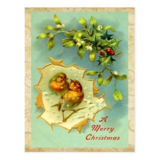 Postal de los pájaros del navidad del vintage
