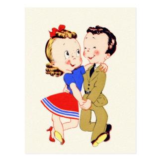 Postal de los pares del baile del vintage