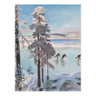 Postal de los patinadores de Gallen-Kallela