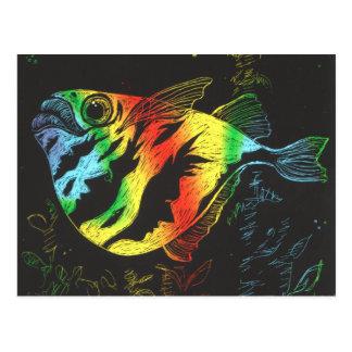 Postal de los pescados de arco iris - formato hori