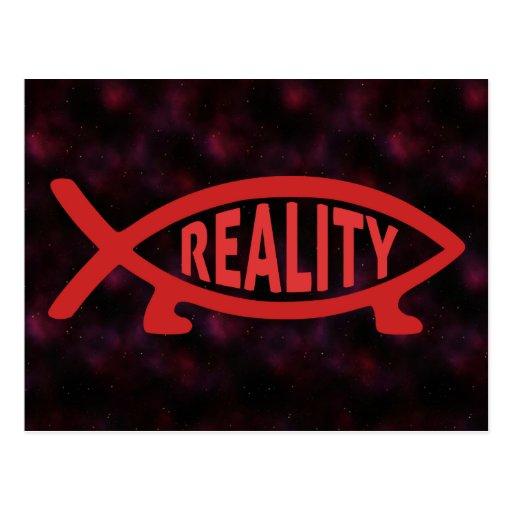 Postal de los pescados de Darwin de la realidad