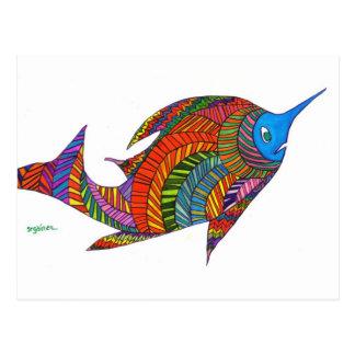 Postal de los pescados de la raspa de arenque de H
