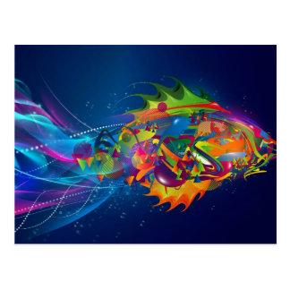 Postal de los pescados del color