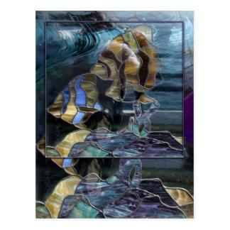 Postal de los pescados del vitral