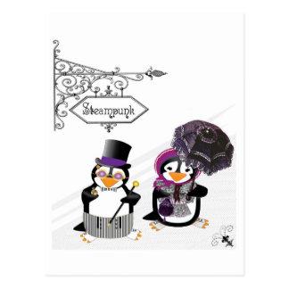 Postal de los pingüinos de Steampunk