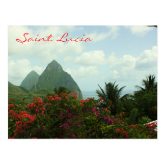 Postal de los Pitons de la Santa Lucía