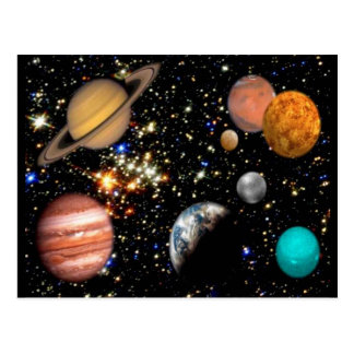 Postal de los planetas de la Sistema Solar