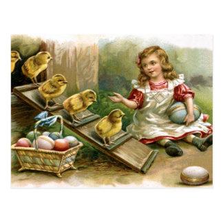Postal de los polluelos de Pascua del ruso del vin