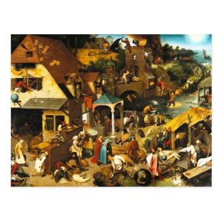 Postal de los proverbios de Pieter Bruegel Netherl