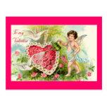 Postal de los rosas del rosa de la tarjeta del día