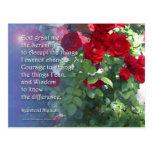 Postal de los rosas rojos del rezo de la serenidad