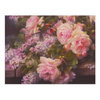 Postal de los rosas y de las lilas del rosa del Vi