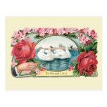 Postal de los rosas y de los cisnes de la amistad