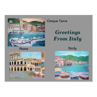 Postal de los saludos de Italia