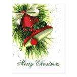 Postal de los saludos del navidad del vintage