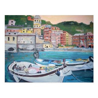 Postal de los saludos del puerto de Vernazza