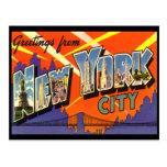 Postal de los saludos del vintage de Nueva York