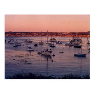 Postal de los veleros y de las puestas del sol