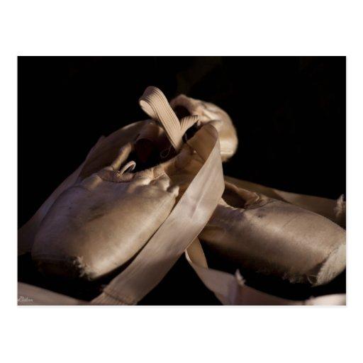Postal de los zapatos de Pointe (ballet)