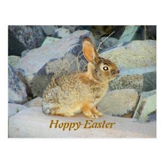 Postal de lúpulo feliz de encargo del conejo de