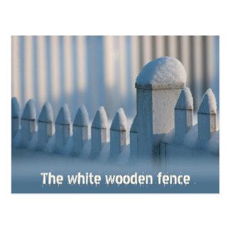 Postal de madera blanca de Sun del invierno de la