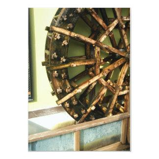 Postal de madera de la rueda de agua invitación 12,7 x 17,8 cm