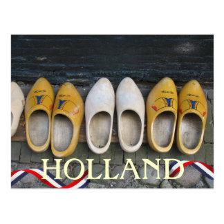 Postal de madera holandesa de los zapatos de Holan