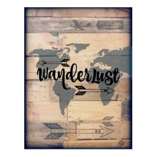 Postal de madera rústica del viaje del Wanderlust