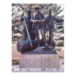 Postal de Michigan del monumento del lañador