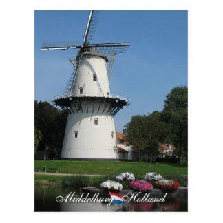 Postal de Middelburg del molino de viento