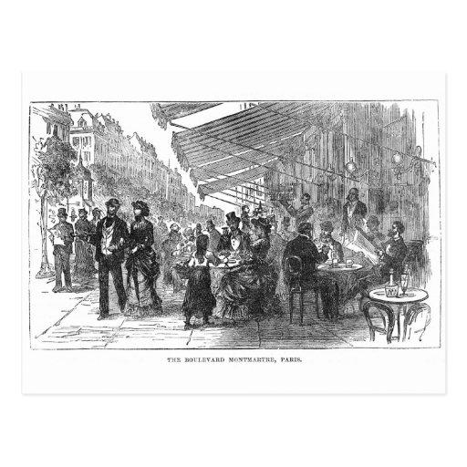 Postal de Montmartre París del bulevar del café