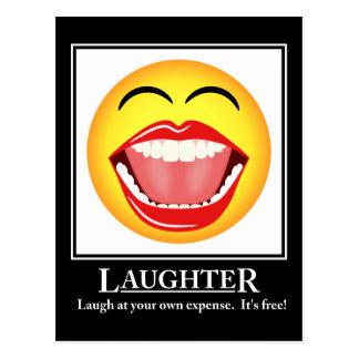 Postal de motivación de la risa sonriente de la