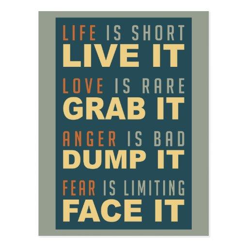 Postal de motivación del consejo de la vida