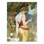 Postal de Mucha:  Coñac - arte Nouveau