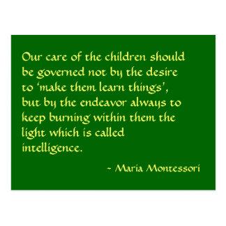 Postal de no 1 de la cita de Maria Montessori
