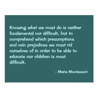 Postal de no. 2 de la cita de Maria Montessori