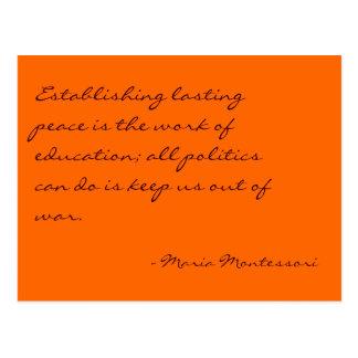 Postal de no 3 de la cita de Maria Montessori