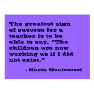 Postal de no. 5 de la cita de Maria Montessori