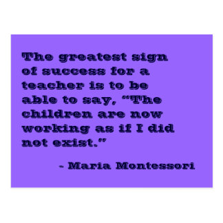 Postal de no 5 de la cita de Maria Montessori