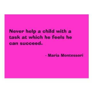Postal de no 6 de la cita de Maria Montessori
